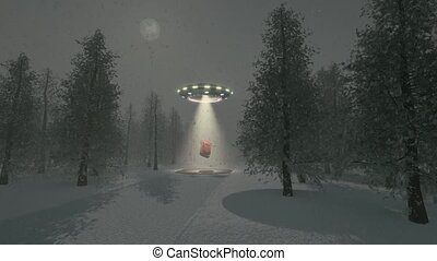 Alien UFO winter Christmas tree background 4k