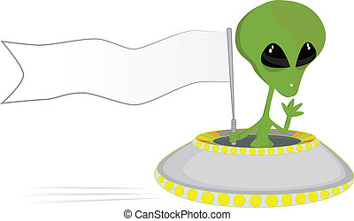 Alien carrying a banner with space for your text