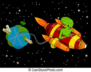 Alien - Vector picture with alien stealing the Earth