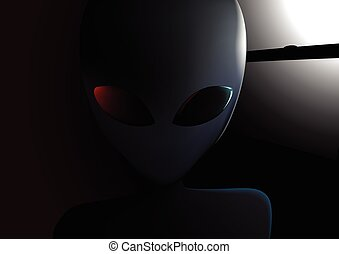 Alien visitor next to window at night