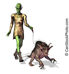 Alien Walking his Pet - An alien takes his pet gryphon for a...