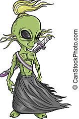 Alien Warrior Vector illustration art