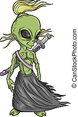 Alien Warrior Vector illustration art