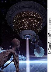 Alien watching spaceship with beam of light