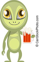 Alien with beer, illustration, vector on white background.