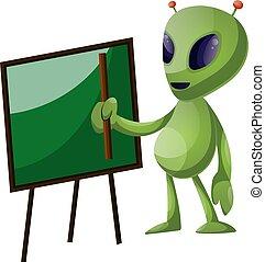 Alien with blackboard, illustration, vector on white background.