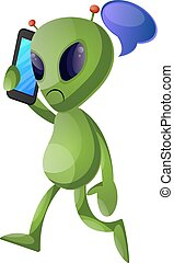 Alien with cellphone, illustration, vector on white background.