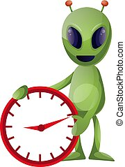 Alien with clock, illustration, vector on white background.