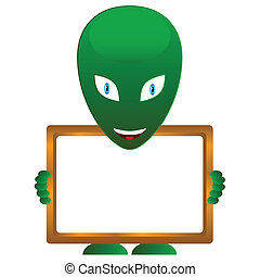 Alien with frame - Green alien with frame on a white...