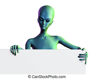 Alien with Sign Edge