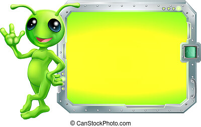 Alien with sign or screen