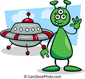 alien with ufo cartoon illustration - Cartoon Illustration...