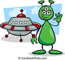 alien with ufo cartoon illustration - Cartoon Illustration...