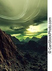 Digital created, fictional scenery of a strange planet.