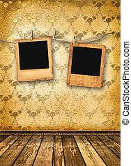 alienato, parete, vecchio, stanza, diapositive