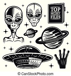 Aliens and ufo set of paranormal activity elements