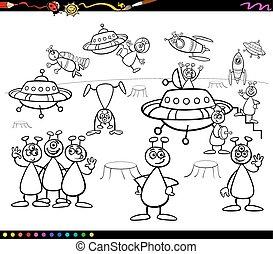 aliens cartoon coloring book