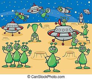 aliens characters cartoon - Cartoon Illustrations of Fantasy...