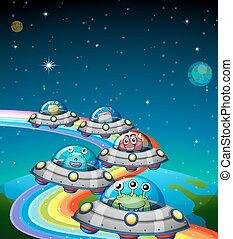 Aliens flying in the UFO