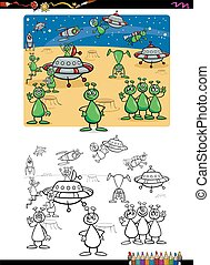 aliens group coloring book