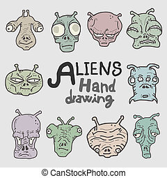 Aliens hand drawing