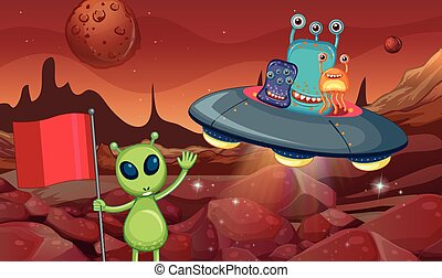 Aliens in UFO flying around the surface of planet