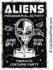 Aliens invitation poster for thematic party