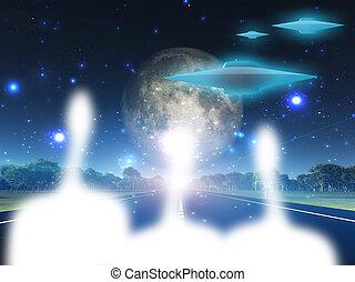 aliens, og, deres, håndværk, på, vejbane, ind, land