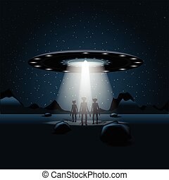 Aliens on a planet, a flying uniden