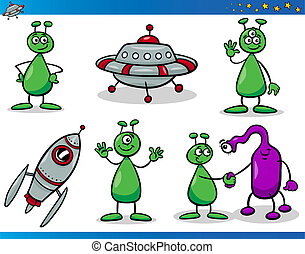 Aliens or Martians Cartoon Characters Set - Cartoon...