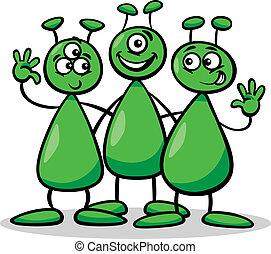 aliens or martians cartoon illustration - Cartoon ...