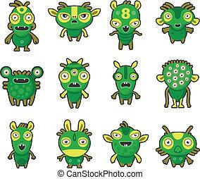 Aliens  Pets - Aliens green on white set