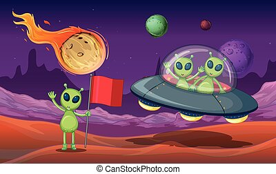 Aliens UFO in the Galaxy