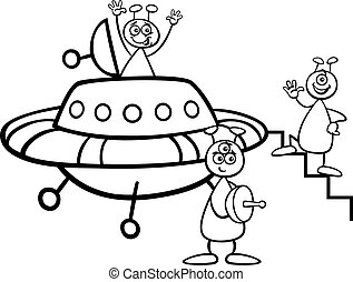 aliens with ufo for coloring book