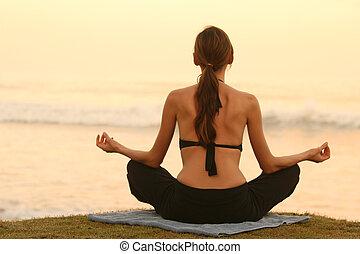 aliento, ejercicio, por, ocaso