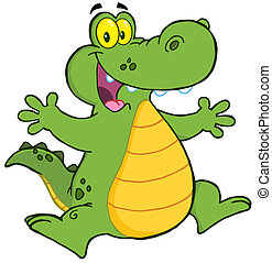 aligator, boldog