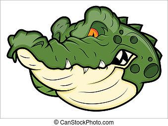 aligator, gniewny, wektor, maskotka