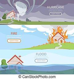 aligeramiento, desastre, volcán, texto, daño, lluvia, banners., tsunami, vector, lugar, tormenta, casa, tiempo, cuadros, viento