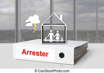 aligeramiento, oficina, familia , casa, carpeta, arrester