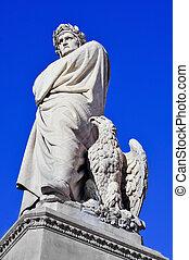 alighieri, イタリア, 広場, 世紀, croce, dante, 位置を定められた, santa, フィレンツェ, 19番目, 彫刻