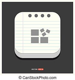 Align Icon Gray icon on Notepad Style template Vector EPS 10 Free Icon