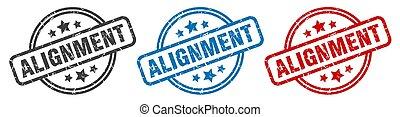 alignement, stamp., étiquette, ensemble, isolé, signe., rond