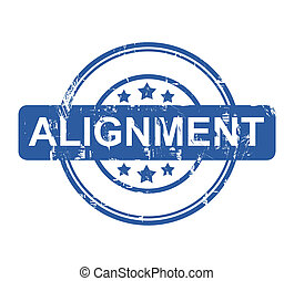 Alignment business stamp with stars isolated on a white background.