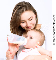 alimentação, baby., bebê come, leite, garrafa