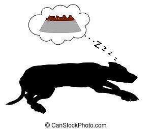alimentação, cão, sonhos