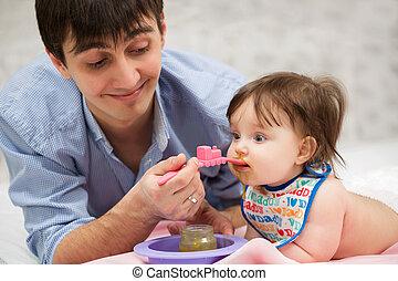 alimentação, cobertor, pai, bebê, lar, menina