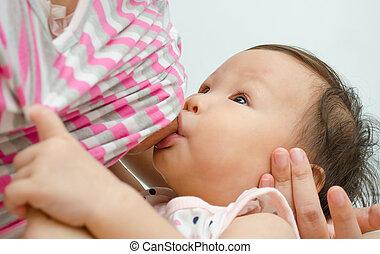 alimentação, dela, asiático, mãe, menina bebê, peito