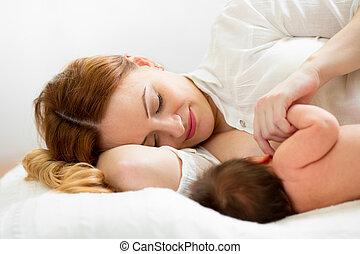 alimentação, dela, recem nascido, peito, mãe, bebê, feliz