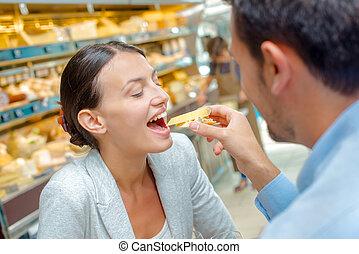 alimentação, mulher, homem