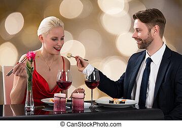 alimentação, mulher, tabela, homem, restaurante